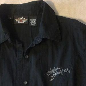 Harley Davidson Black Short Sleeve Adjustable Top